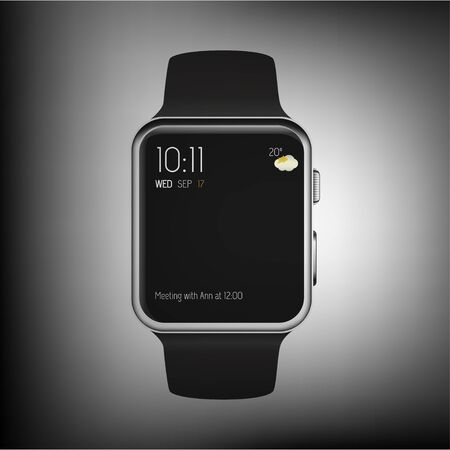 wristbands: Smart watch isolated with icons on gray background. Vector illustration. Illustration