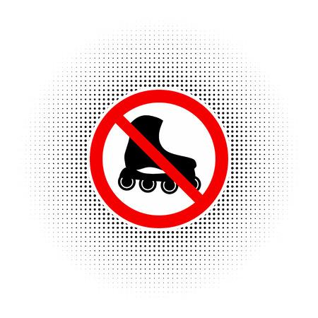 rollerblades: No Roller skates sign icon