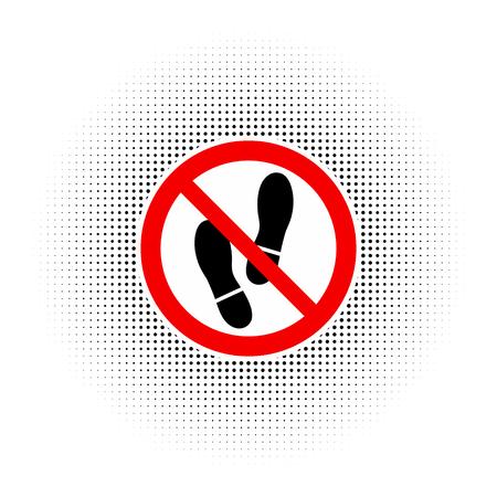 interdiction: Aucun signe de chaussure d'avertissement