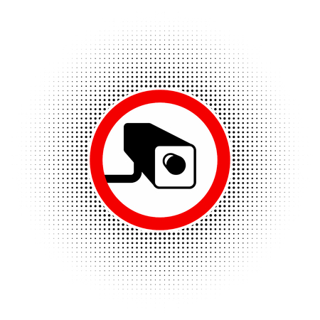 loitering: Round and red border for road sign No trespassing with CCTV sign on a white background