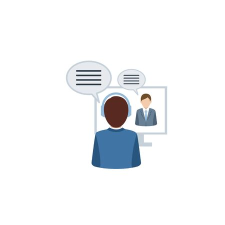 Video conference or video call concept illustration. 矢量图像