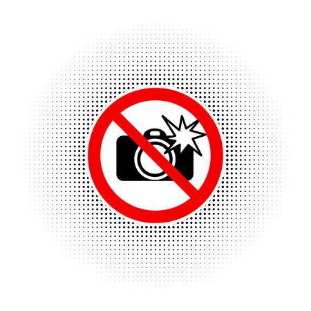 No Photography with flash sign vector Illustration