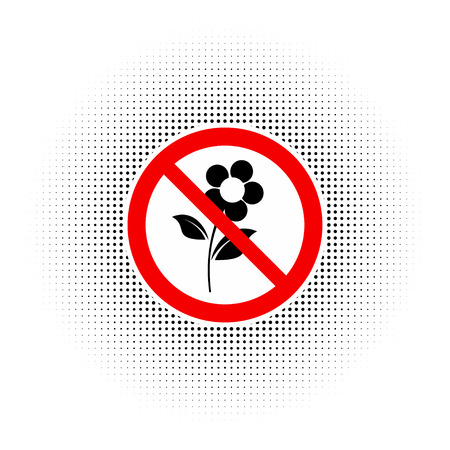 Do not pluck flowers, vector sign