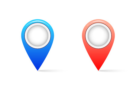 Realistic map pin icon with shadow. Pin icon