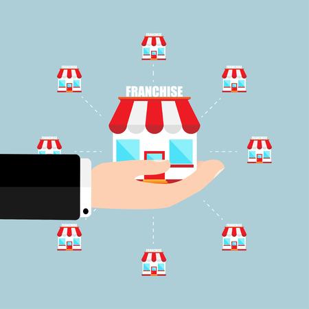 Concept d'entreprise franchise main d'homme d'affaires sur le système de marketing de franchise