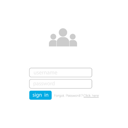 Vector login form ui element on blanck background. Login user interface