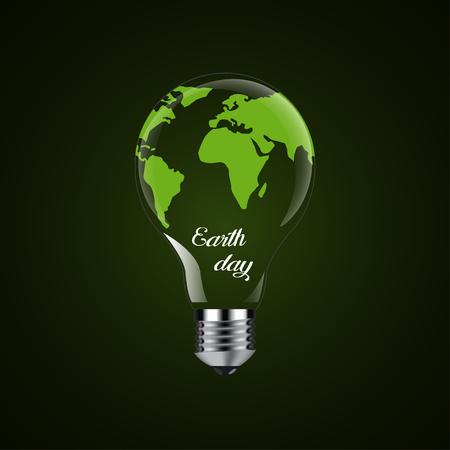 Happy Earth Day - Design Glühbirne Standard-Bild - 90653688