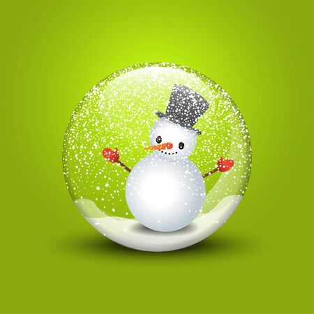 3d illustration Merry Christmas. Snow globe with snowman on green background Illustration