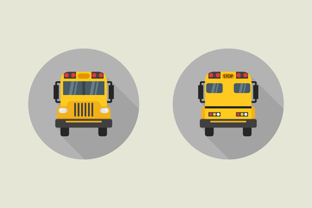 Schoolbus vector pictogram in vlakke stijl