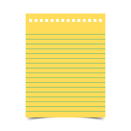Lined paper with shadow on blank background Illustration
