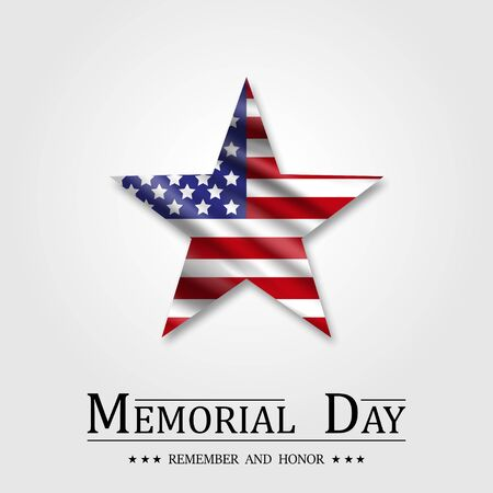 Memorial Day, Star and Flag USA Illustration
