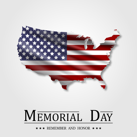 Happy Memorial Day, Flag USA, National american holiday Illustration