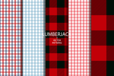 Set of 5 Lumberjack plaid pattern vector