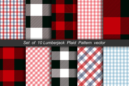 Set of 10 Lumberjack plaid pattern vector