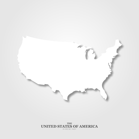 USA map with shadow on light background Illustration