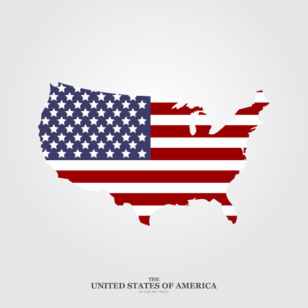 USA map flag in flat style on light background Illustration