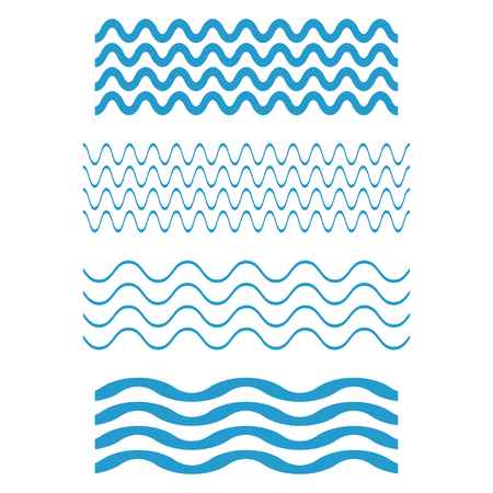 Set wave icons, Water waves on white background