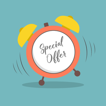 Special Offer alarm clock in flat style  イラスト・ベクター素材