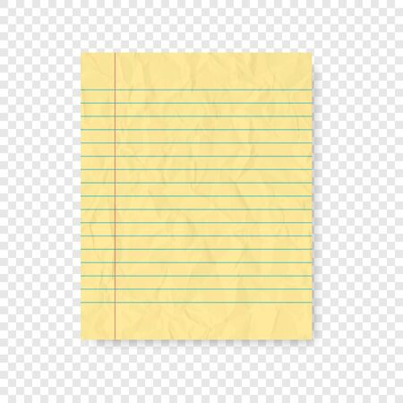 Lined paper with shadow on blank background  イラスト・ベクター素材