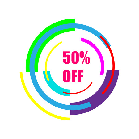 50% off sale, new technology of the future icon.