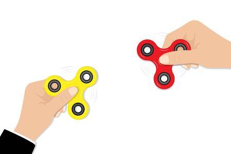 Fidget Spinners in hands Illustration