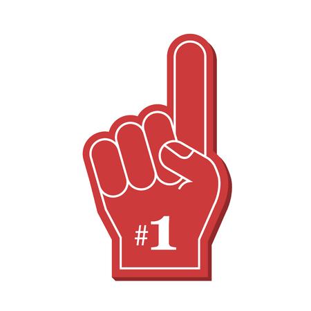 Numer 1 fa czerwony palec z pianki, ilustracji wektorowych. Ilustracje wektorowe