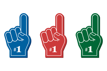Number 1 fan. Colorful foam fingers, vector illustration