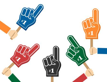 Nummer 1 fan. Kleurrijke schuimvingers in de handen, vectorillustratie