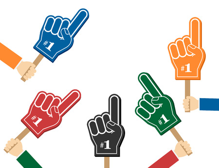 Number 1 fan. Colorful foam fingers in the hands, vector illustration