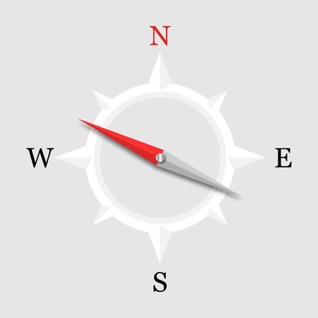 3d arrow compass on a white background. Compass icon vector.