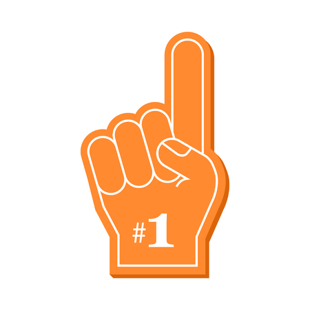 Number 1 fan. Orange foam finger, vector illustration