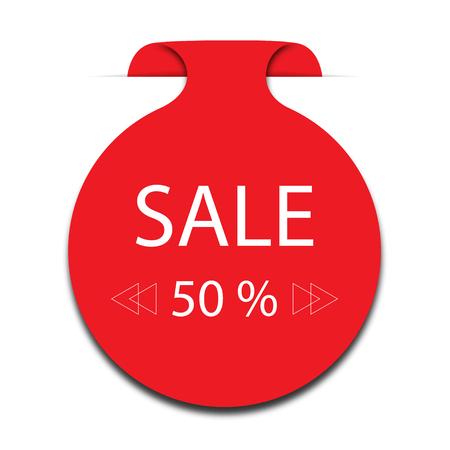 Sticker 50% Off Sale promotion flat badge graphic Vector illustration.