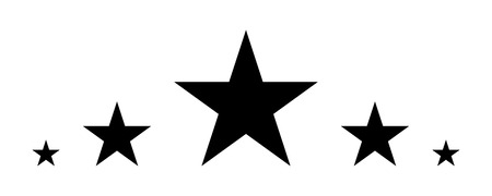 5 Stars, Black star in flat style, Star icon Vector illustration.