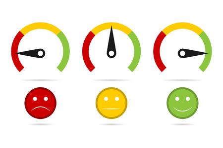 Set di misurazione del tachimetro con emozioni, illustrazione vettoriale facile normale duro. Vettoriali