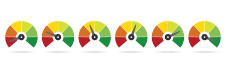 Set of measuring speedometer, Easy Normal Hard Vector illustration.
