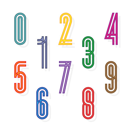 Set colorful numbers formed by parallel lines, Color numbers  イラスト・ベクター素材