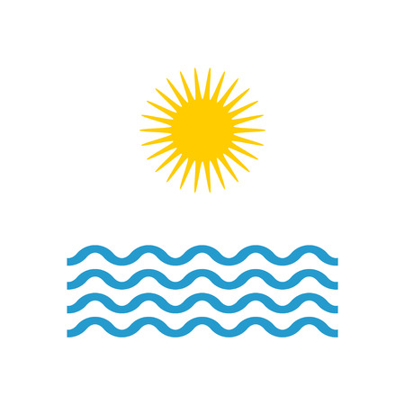 Wave and Sun in flat style, Summer icon