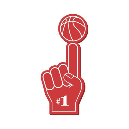 Basketball fan, Number 1 fan. Red foam finger, vector illustration