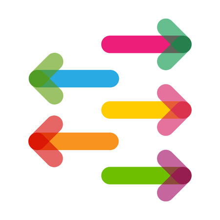 Colorful Arrows in trendy flat style with transparency Vectores