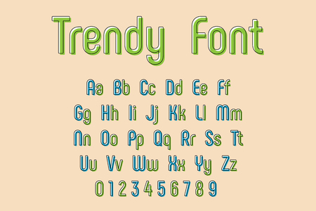 Vector Trendy Font and Alphabet, abstract and decorative font and alphabet Vettoriali