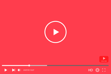 Video player in flat style interface. Video and audio player. Vector illustration EPS10 Vectores