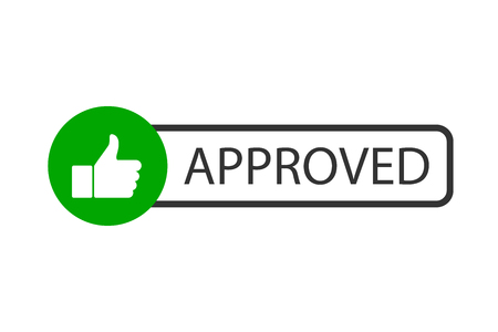 Approved stamp vector. Button Approved in flat style design