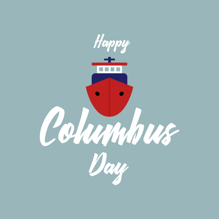 Columbus Day. The trend calligraphy. Vector illustration Vettoriali