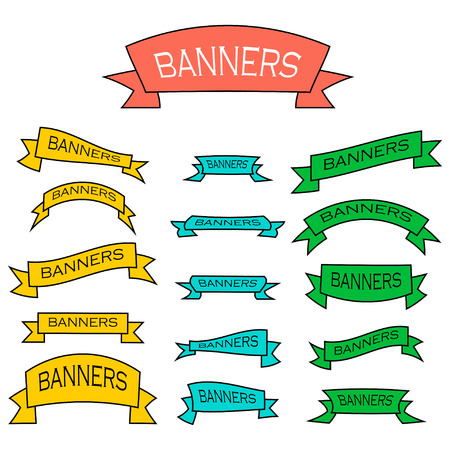 Set of vector banner ribbons in flat style