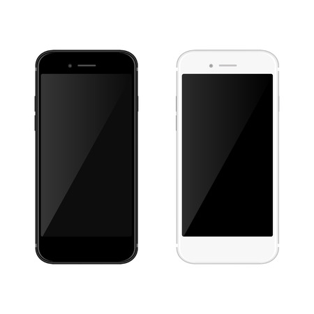 Realistic black and white mobil phone smartphone on blanck background. Vector illustration