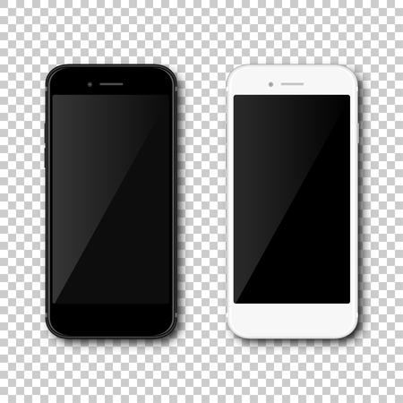 Realistic black and white mobil phone smartphone on isolated background. Vector illustration
