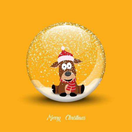 Snow globe with christmas dog. Merry Christmas vector illustration