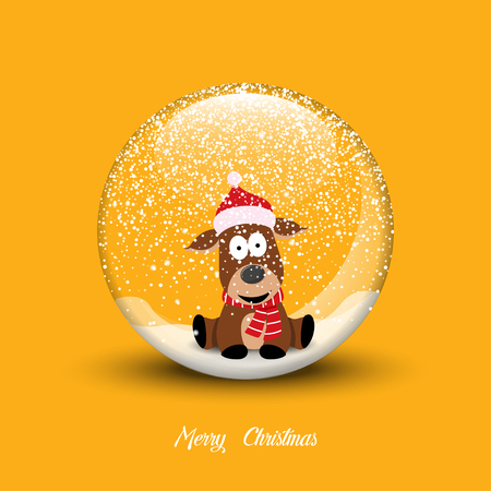 Snow globe with christmas dog. Merry Christmas vector illustration