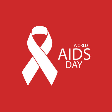 1st December. World Aids Day concept. Aids Awareness Red Ribbon. World Aids Day poster Vectores
