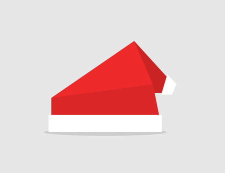 Set red Santa Hat. Origami design. Vector icon